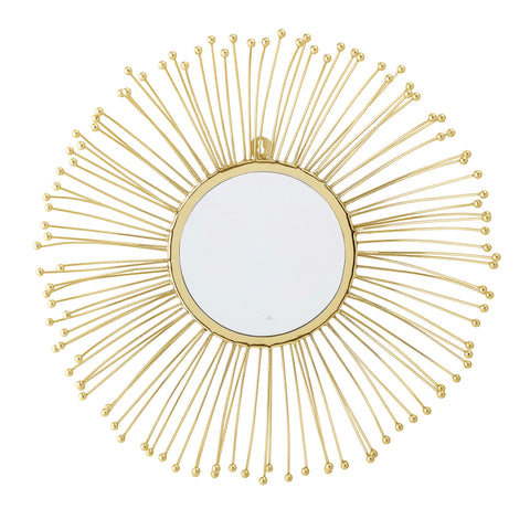 Round Wall Mirror with Gold Metal Sunburst Frame