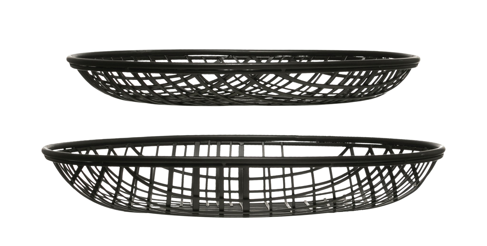 "14"" & 16"" Round Decorative Metal Wire Baskets/Trays  (Set of 2 Sizes)"
