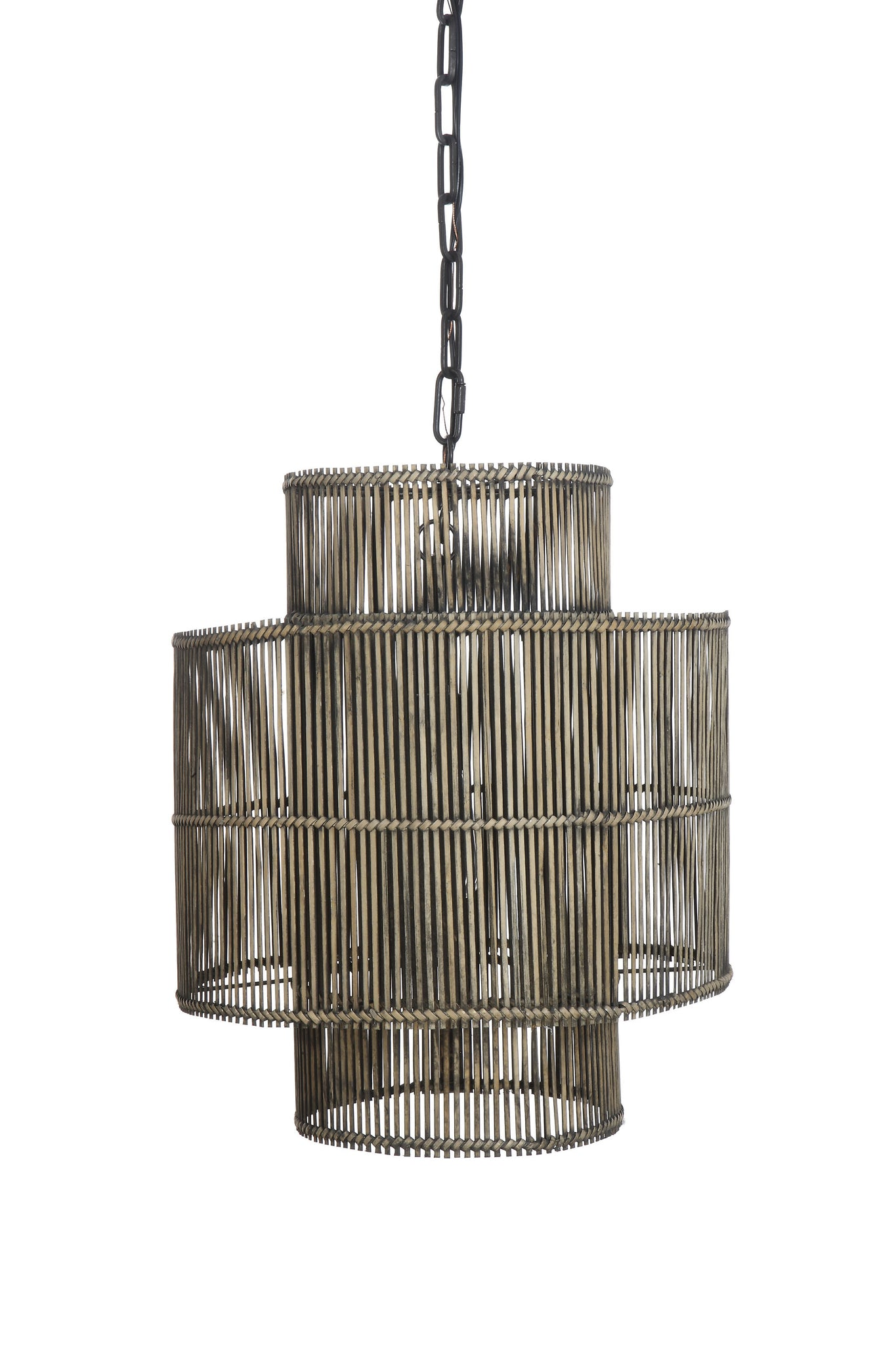 Black Metal & Bamboo Pendant Light