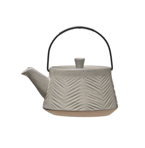 24 oz. Debossed Stoneware Teapot with Reactive Glaze Finish, Lid & Metal Strainer (Each one will vary)