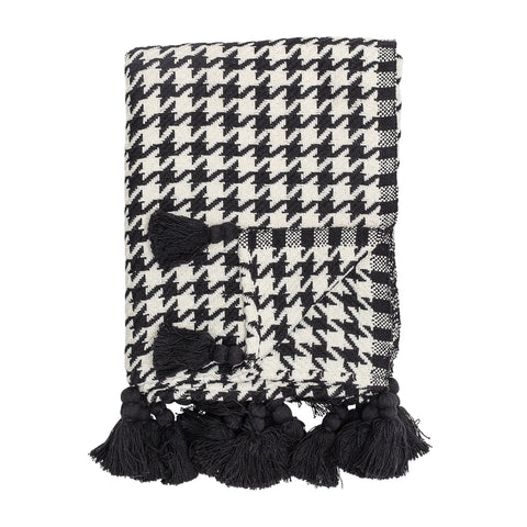 Black & Ivory Houndstooth Cotton Woven Throw with Tassels