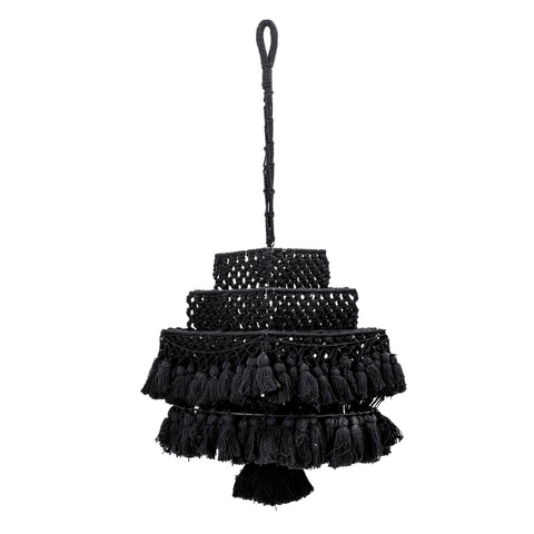 Square Handwoven Black Cotton Macramé Canopy with Tassels
