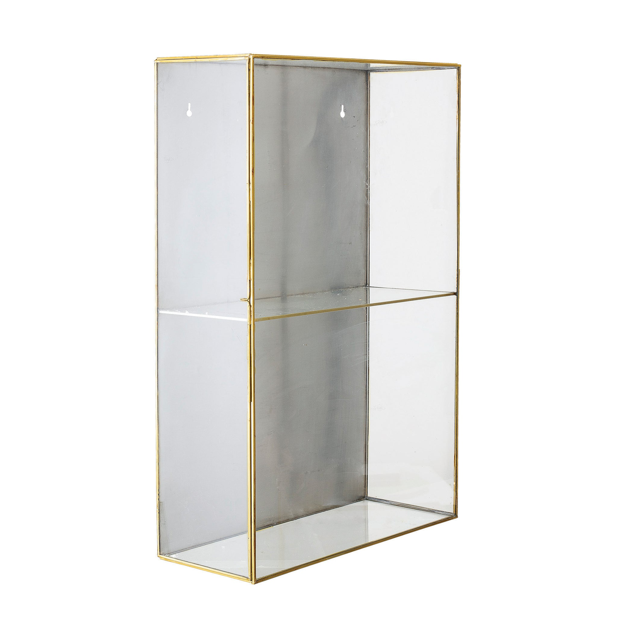 Glass 2-Tier Wall Display with Brass Frame (Hangs or Sits)