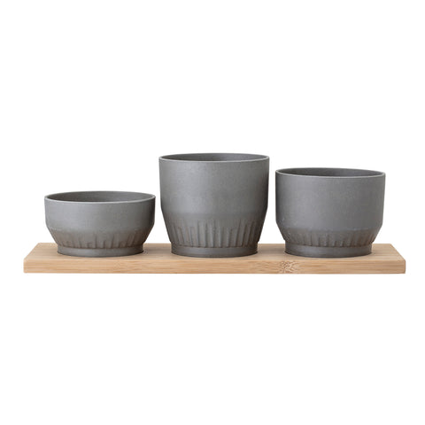 Three Grey Bamboo Planters Inset on Natural Wood Tray (Set of 4 Pieces)