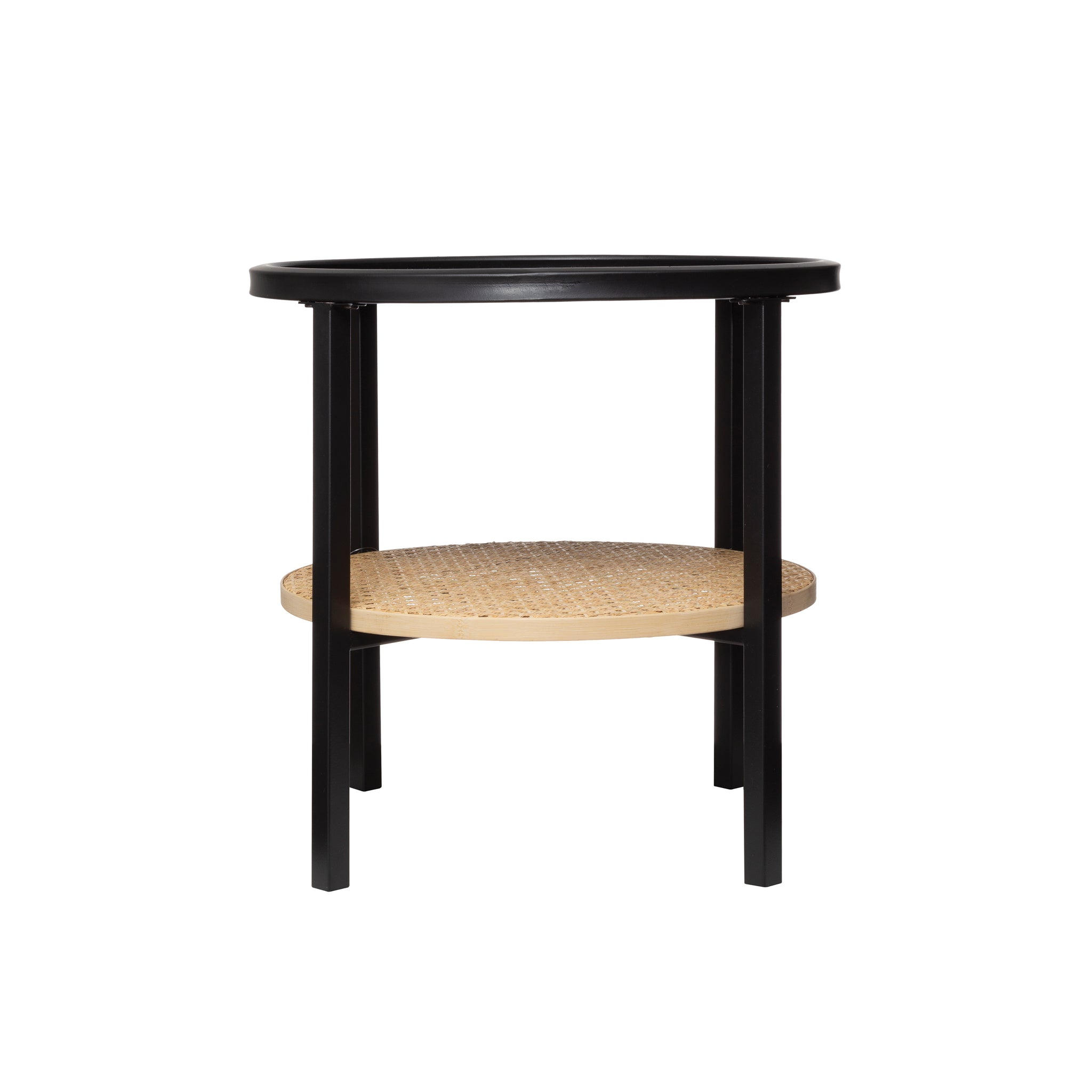 "17.75"" Round Metal Accent Table with Tray-Style Top & Handwoven Bamboo Shelf"