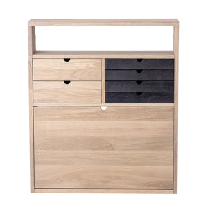 "31.5"" Oak Wood Wall Desk with Fold Down Desktop, 6 Drawers & 2 Shelves"