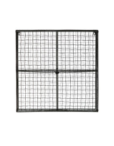 "23.75"" Square Metal Wire Wall Shelf with 2 Shelves & 2 See-Through Doors"