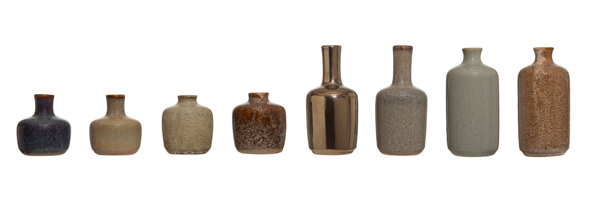 Stoneware Vases with Reactive Glaze Finish (Set of 8 Styles)