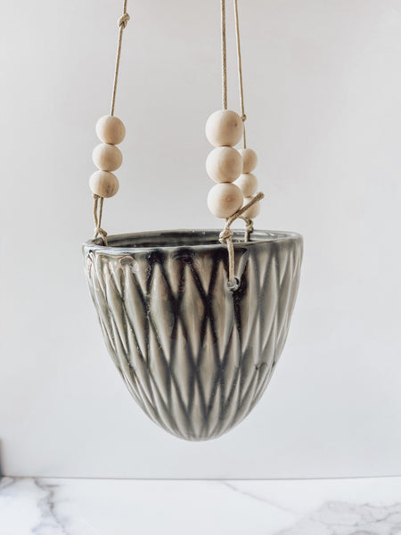 Stoneware Hanging Flower Pot with Wood Beads (Gray) - Brandt's Home Decor