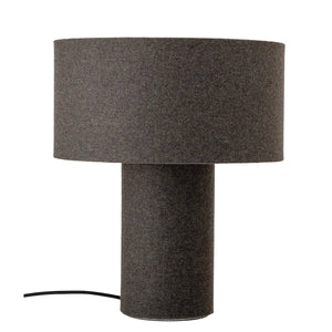 Grey Wool Blend Table Lamp with Matching Shade (Set of 2 Lamps)