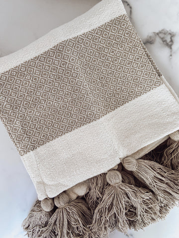 Tan & White Striped Tassel Throw Blanket - Brandt's Home Decor