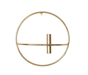 Large Metal Wall Taper Candleholder with Brass Finish
