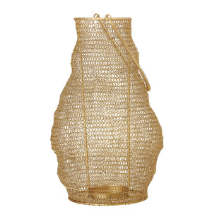 Decorative Linked Wire Gold Metal Lantern with Handle
