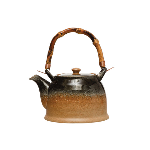27 oz. Stoneware Teapot with Reactive Glaze Finish & Bamboo Handle (Each one will vary)