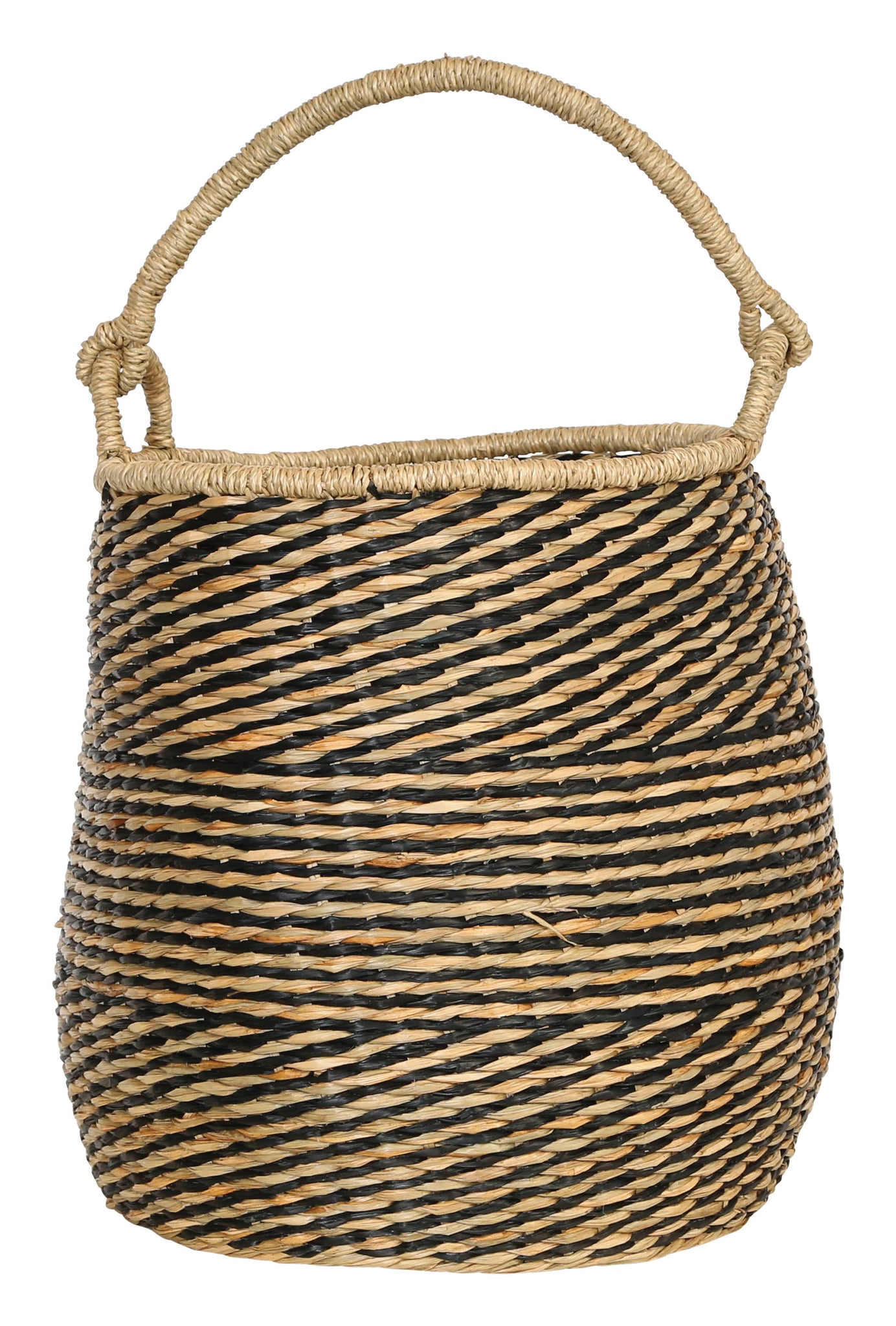 "21.25""H Handwoven Seagrass Basket with Handle"