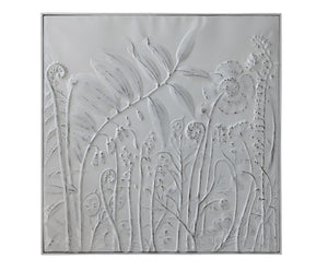 Square White Wall Decor with Embossed Flowers
