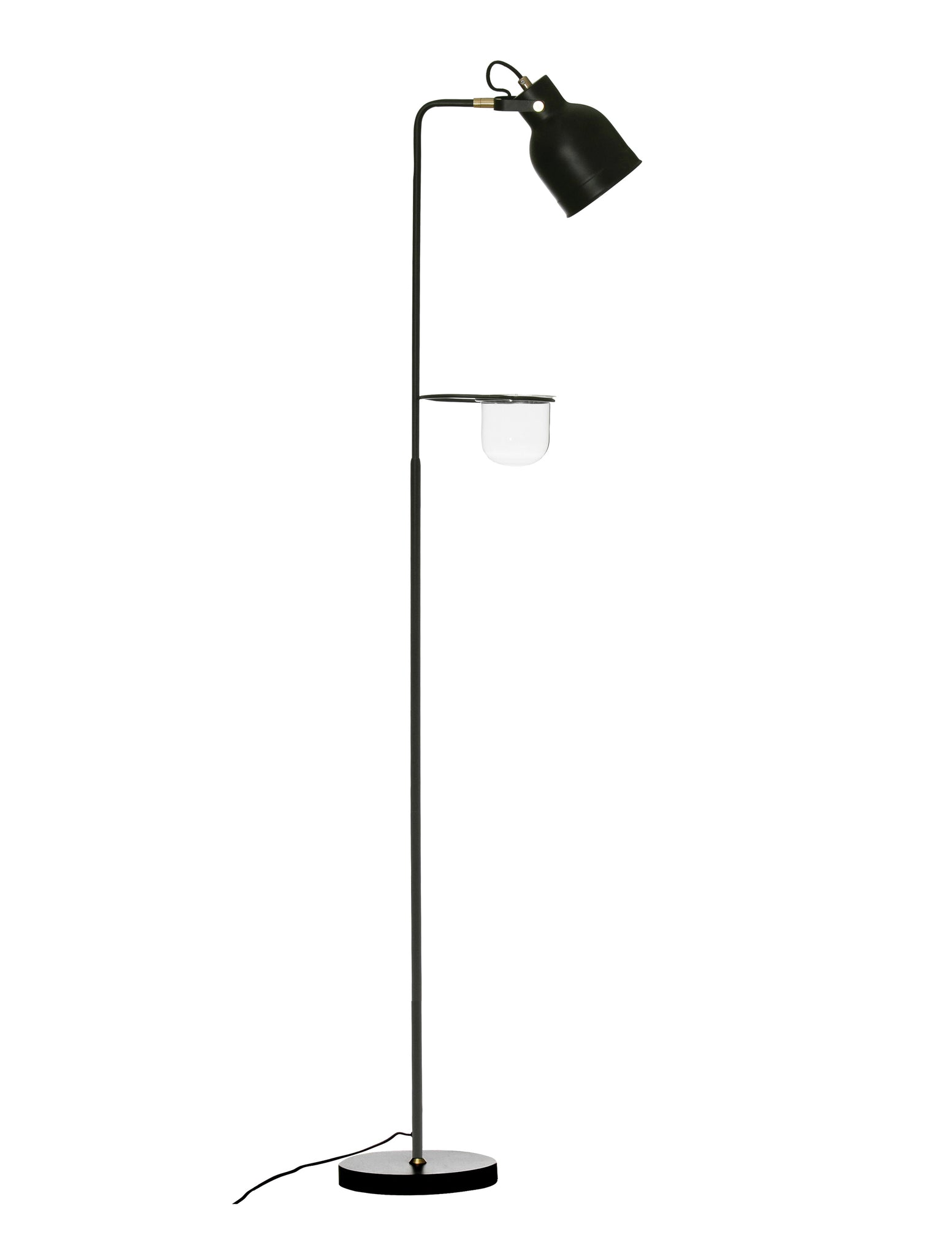 "62""H Metal Floor Lamp with Glass Planter/Vase in Attached Holder"
