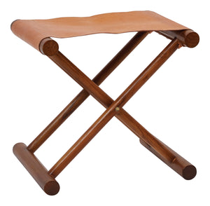 "17.75""H Foldable Leather & Teak Wood Stool"