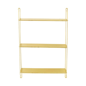 Metal Wall Décor with Brass Finish & 3 Shelves