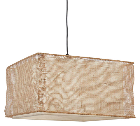 Rectangle Jute & Cotton Blend Pendant Light with 4' Cord (Hardwire Only)