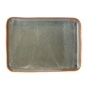 Rectangle Blue Stoneware Platter with Reactive Glaze Finish