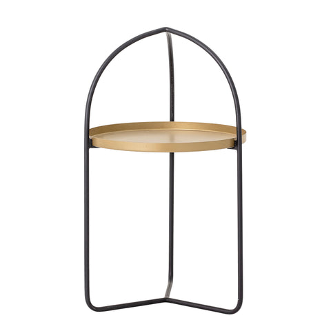 "17.5"" Round Metal Tray in Black Metal Stand with Arched Top"