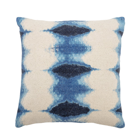 Square Blue Tie-Dyed Cotton Pillow