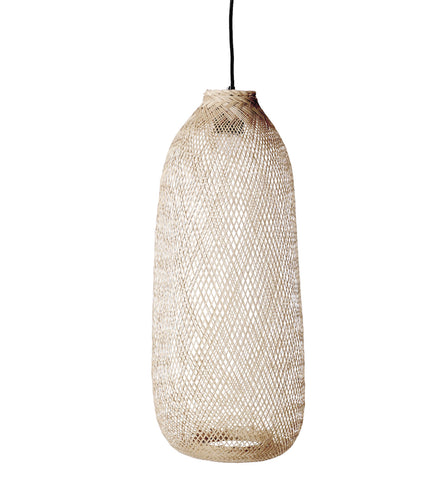 Oval Handwoven Bamboo Pendant Light with 8' Cord (Hardwire Only)