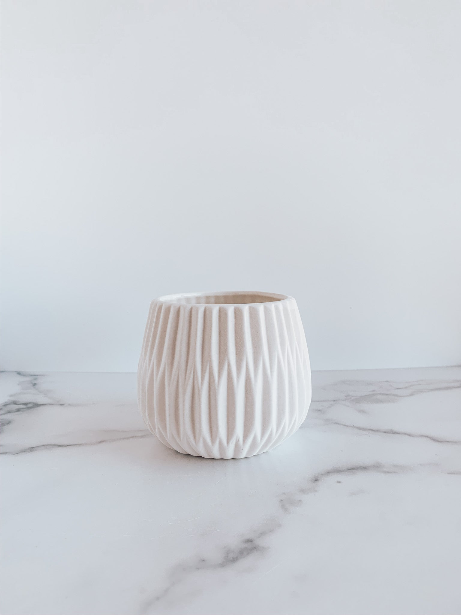 White Fluted Flower Pot - Brandt's Home Decor