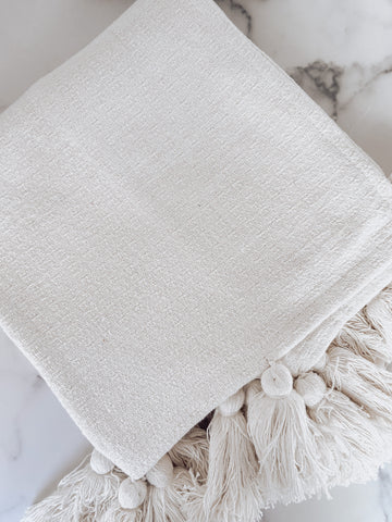 White Tassel Throw Blanket - Brandt's Home Decor