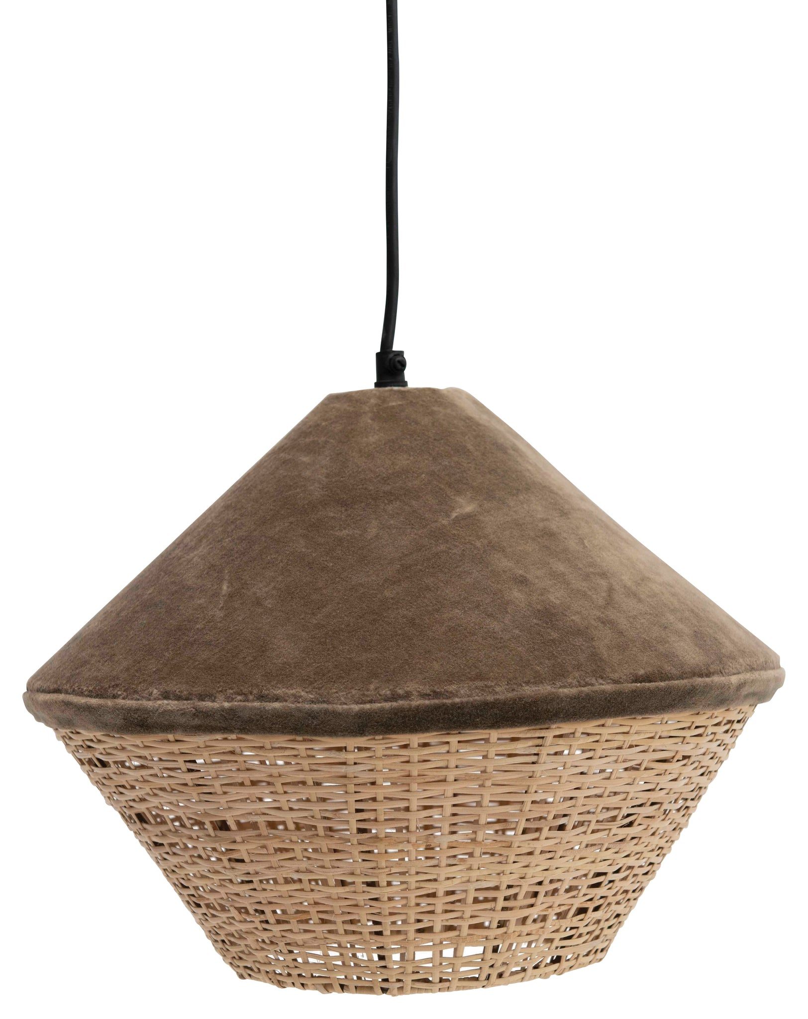 "12"" Round Cotton Velvet & Rattan Pendant Light with 6' Cord (Hardwire Only)"