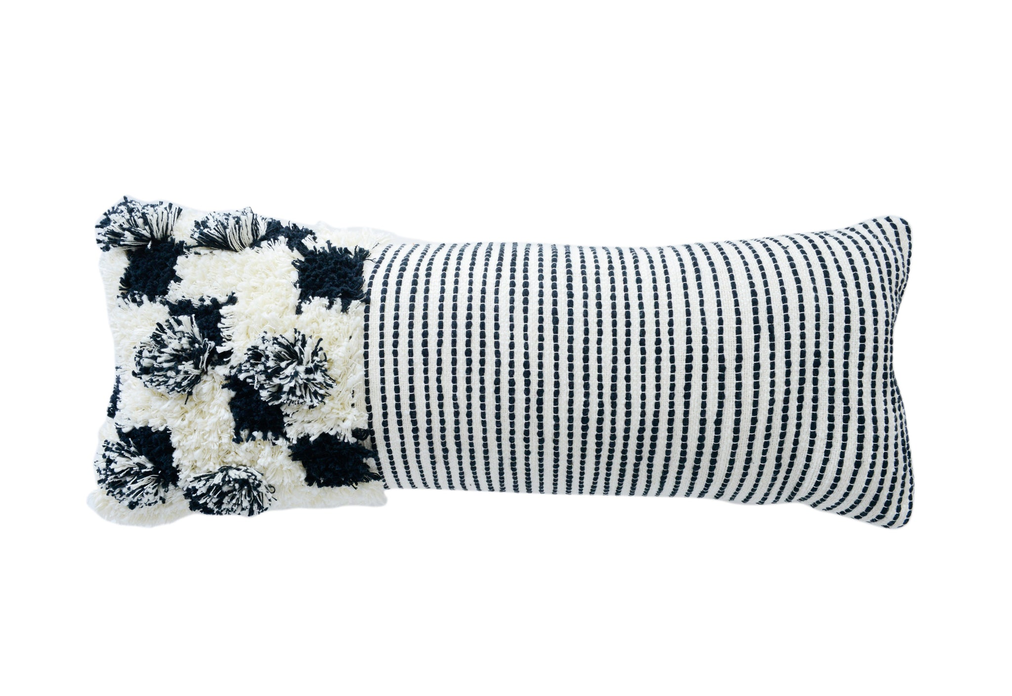 Embroidered & Appliqued Black & White Cotton Lumbar Pillow with Fringe