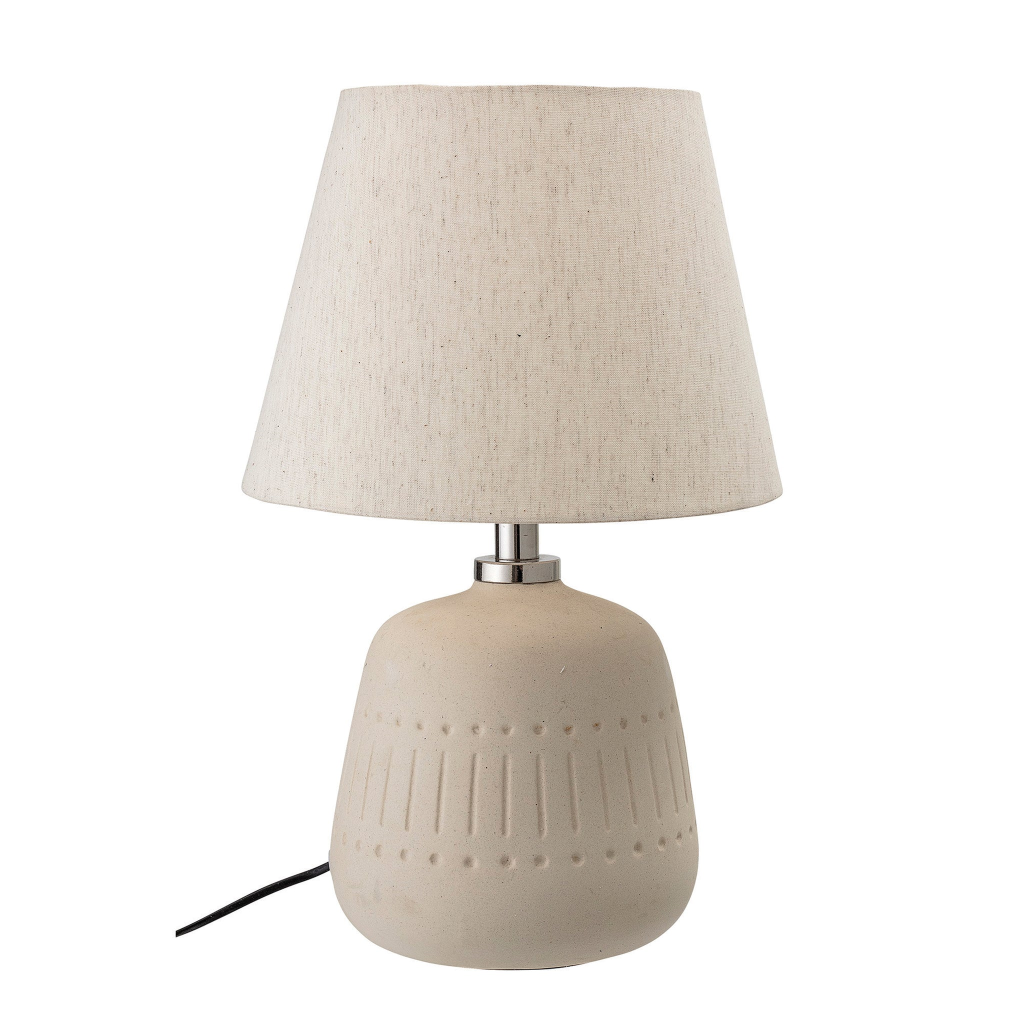 Cream Ceramic Lamp with Debossed Stripes & Circles and Fabric Shade