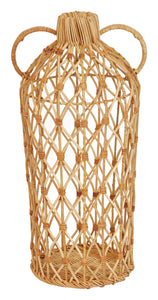 "Decorative 20.5""H Handwoven Rattan Vase with Handles"