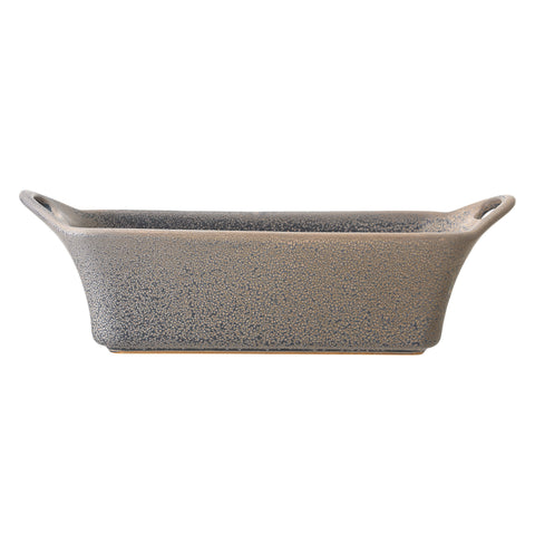 Matte Grey Rectangle Stoneware Baker with Handles & Reactive Glaze Finish (Each one will vary)