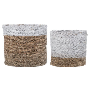 Round White & Brown Natural Seagrass Baskets (Set of 2 Sizes)