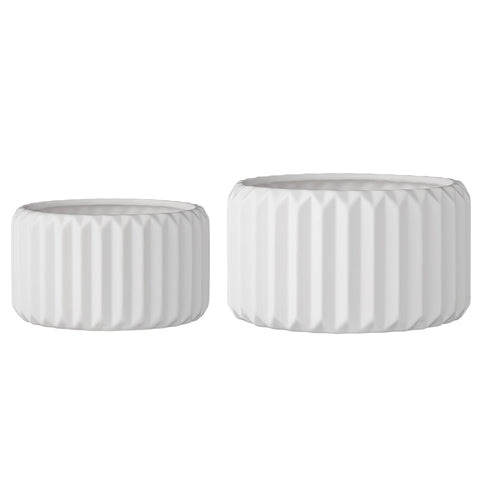 Set of 2 Round White Fluted Stoneware Flower Pots