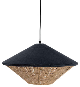 "17.5"" Round Cotton Velvet & Rattan Pendant Light with 6' Cord (Hardwire Only)"