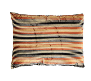 Black, Grey & Orange Striped Rectangle Polyester Blend Pillow