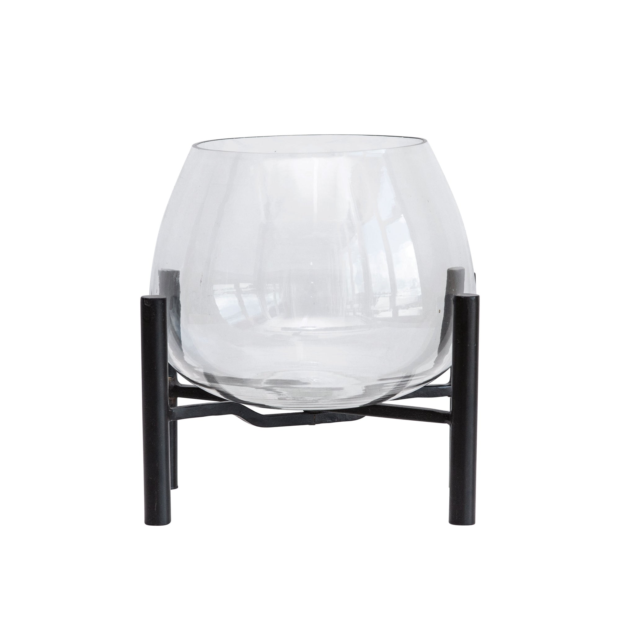 Large Clear Glass Planter on Black Metal Stand (Set of 2 Pieces)