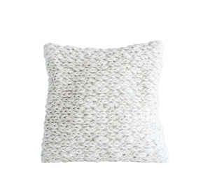 Square Off-White Wool Pillow with Thick Cable Knit Design