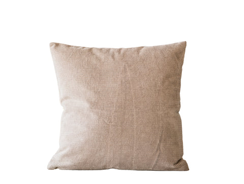 Tan Square Cotton Corduroy Pillow with Linen Back