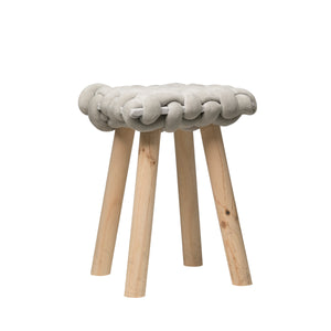 "18.5""H Wood Stool with Chunky Woven Seat"
