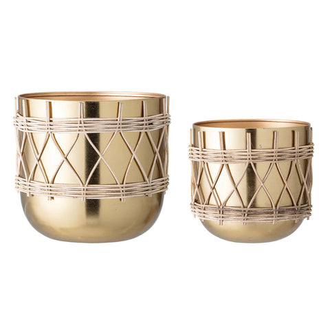 "7""H & 9""H Gold Electroplated Metal Planters with Woven Rattan Sleeve (Set of 2 Sizes/Hold 7"" & 9"" pots)"