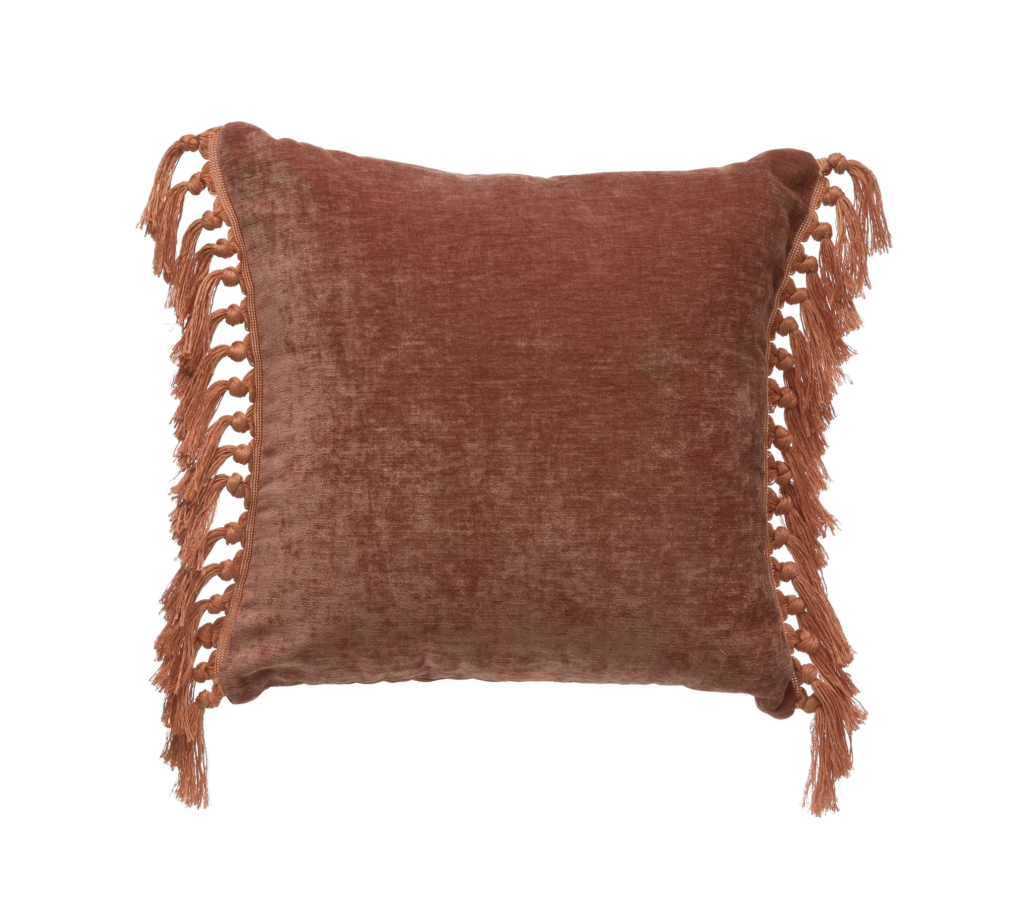 "18"" Square Polyester Pillow with Tassel Sides"