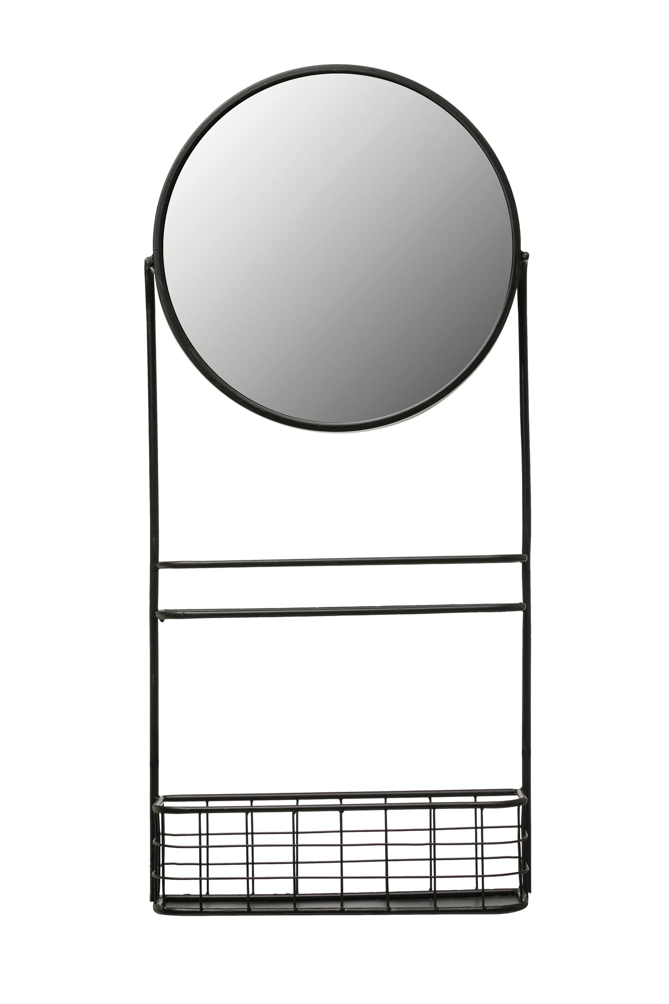 Round Metal Wall Mirror with Basket & Center Shelf