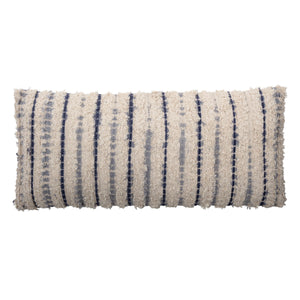 "26""L Textured Cotton Woven Lumbar Pillow with Tie-Dyed Stripes"