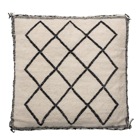 "20"" Square Woven Wool & Cotton Blend Pillow with Diamond Pattern & Braided Trim"