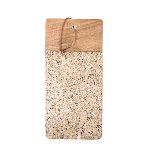 Brown Terrazzo & Wood Tray/Cutting Board with Leather Tie