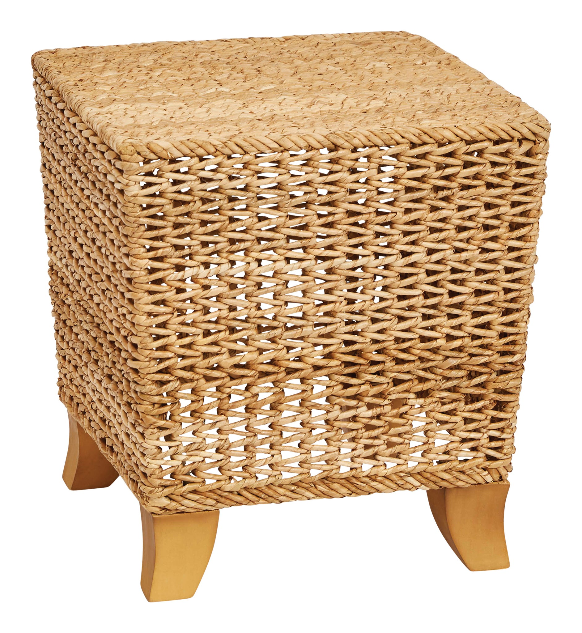 "14""H Water Hyacinth & Rattan Stool with Wood Legs"